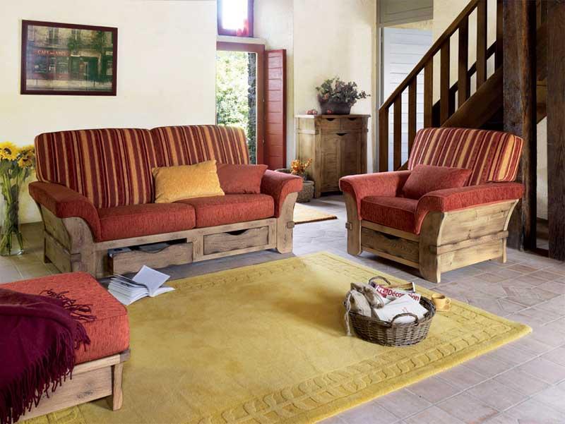 Canap s et fauteuils 38 saint marcellin par les meubles for Canape rustique campagnard